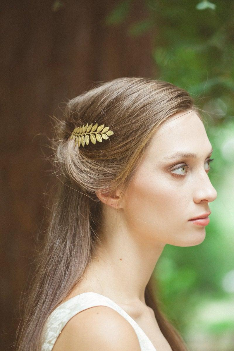 Wedding - Gold Leaf Bobby Pin Laurel Hair Clip Bride Bridal Bridesmaid Botanical Nature Garden Rustic Woodland Wedding Accessories Womens Gift For Her
