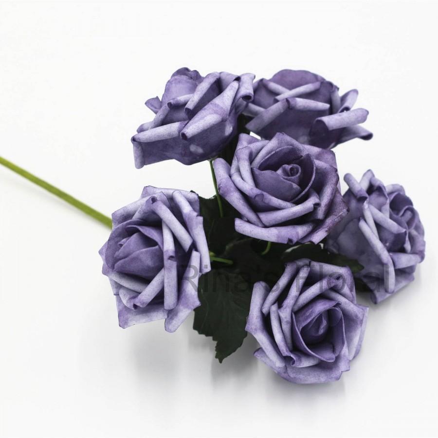 Wedding - Vintage Purple Wedding Flowers Faux Roses Fall Flowers Artificial Roses For Wedding Center Pieces Decor Bouquet Flowers 72 PCS LZ-RS72-06