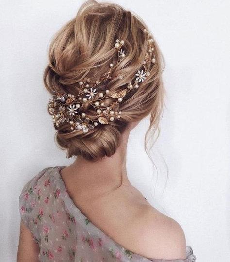Wedding - Bridal Gold hair vine Gold leaf hair vine Wedding hair piece Bridal hair jewelry  Flower hair vine  Crystal pearl hair vine Silver headpiece