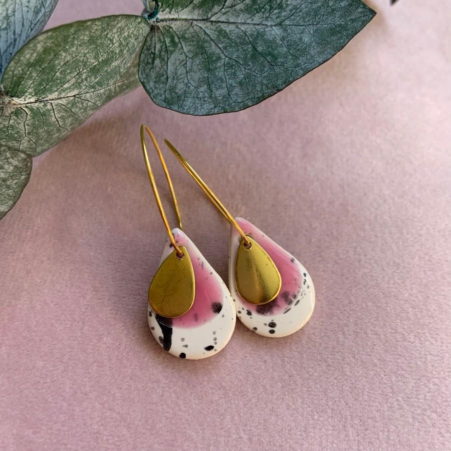 Wedding - Pre- order, 14 days to make and dispatch, Ceramic earrings, clay earrings, bright pink, dangle, Gold plated ear wires