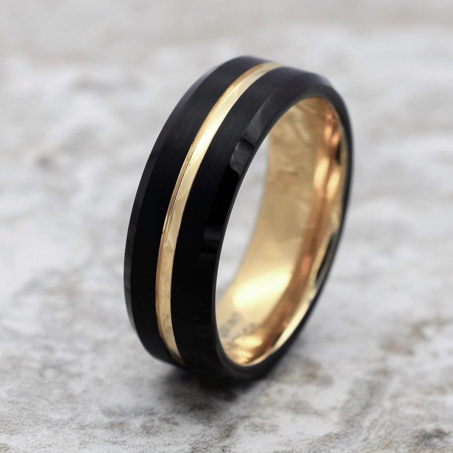 Wedding - Tungsten Ring, Men's Tungsten Wedding Band, Men's Black Wedding Band, Black Tungsten Ring, Yellow Gold Tungsten Ring, Yellow Gold Band