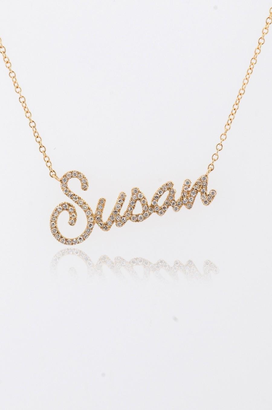 Wedding - Diamond Personalized Name Necklace, Customized Diamond Initial Letter Chain, Dainty Nameplate, 14K Name Necklace, Custom Name Necklace Gift