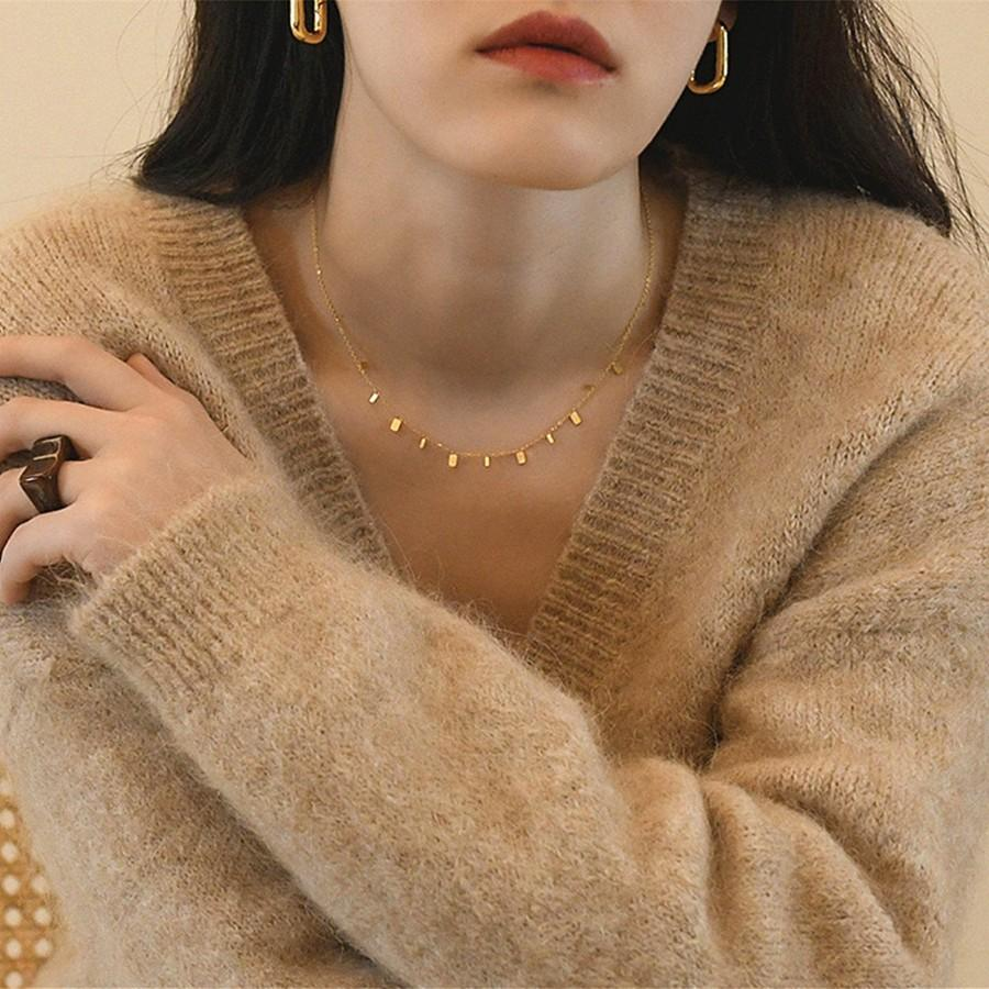 Wedding - Dainty Gold Coin, Square and Teardrop Charm Choker Necklace, Delicate Layering Necklace, Minimalist Simple Chain Necklace, Gift For Her