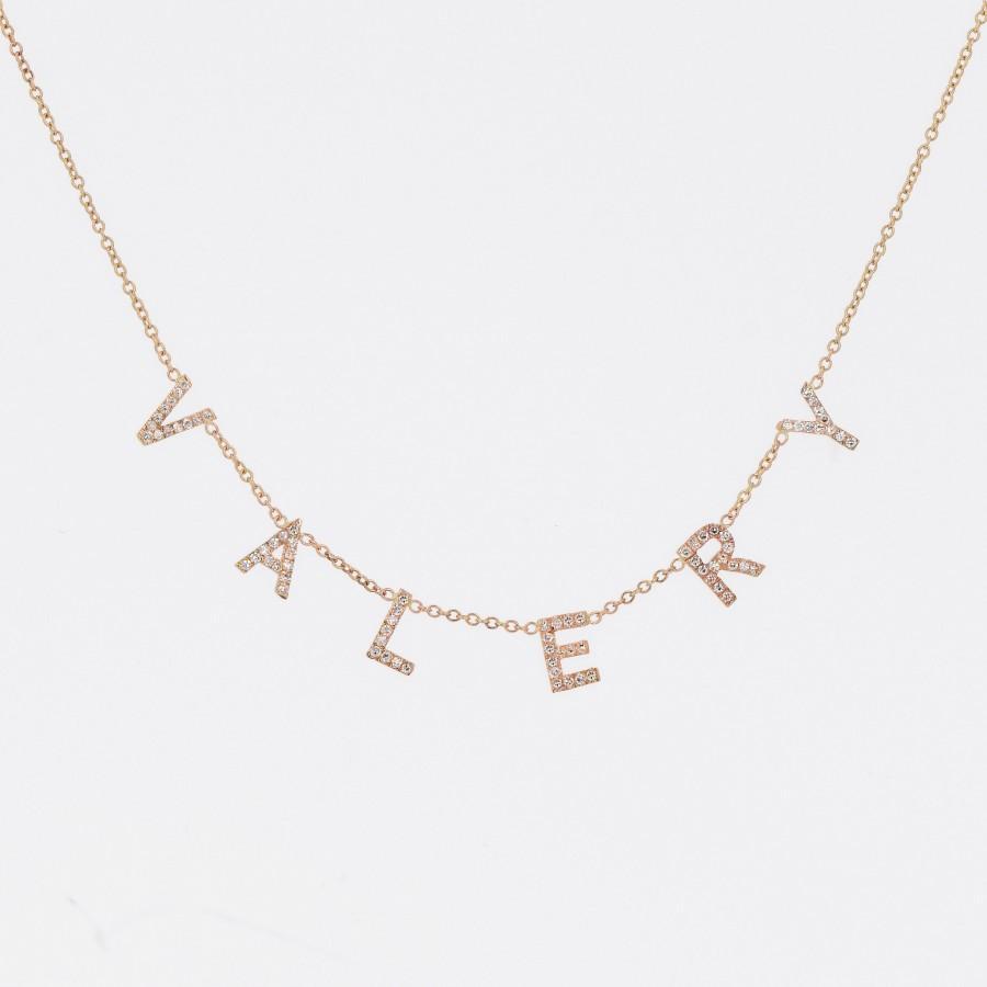 Wedding - Custom Name Necklace, Diamond Necklace, 14k Gold Letter Necklace, Diamond Initial Necklace, Genuine Diamond Necklace, Personalized Necklace