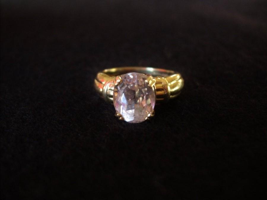 Wedding - Vintage 14k Solid Gold Authentic Lavender Pink Kunzite Ring Sz 6.5
