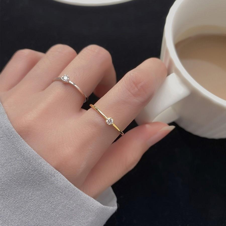 Свадьба - Initial Ring, Wedding Ring, Rhinestone Ring, Sterling Silver Ring, Engagement Gold Ring, Diamond ring, Valentine's Gift, Gift For Her