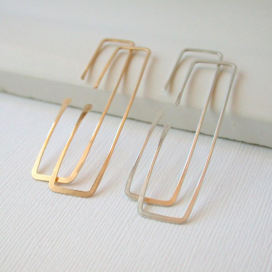Hochzeit - Rectangle Threader Earrings Geometric Earrings Geometric Hoop Earrings Rectangle Hoops Rectangle Earrings Threader Hoops