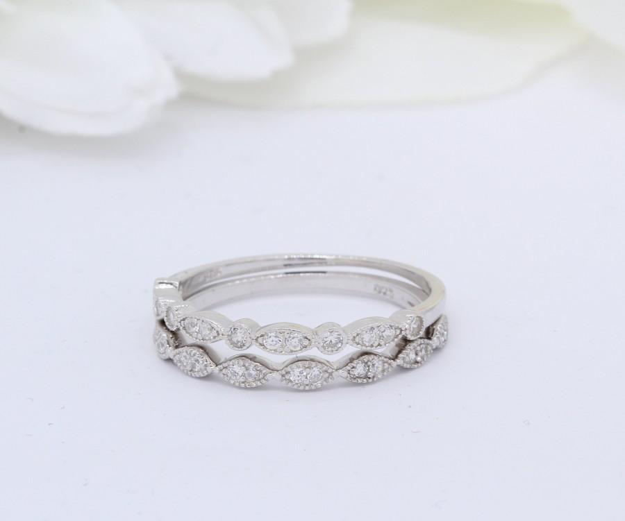 Mariage - Art Deco Design Two Piece Stacking Eternity Marquise Round Simulated Diamond CZ Wedding Band Ring  925 Sterling Silver Choose Color