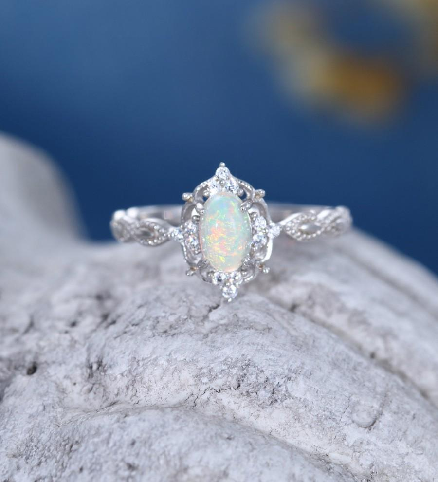 Hochzeit - Oval cut Opal engagement ring women 14k white gold diamond vintage engagement ring Antique cluster diamond wedding anniversary gift ring