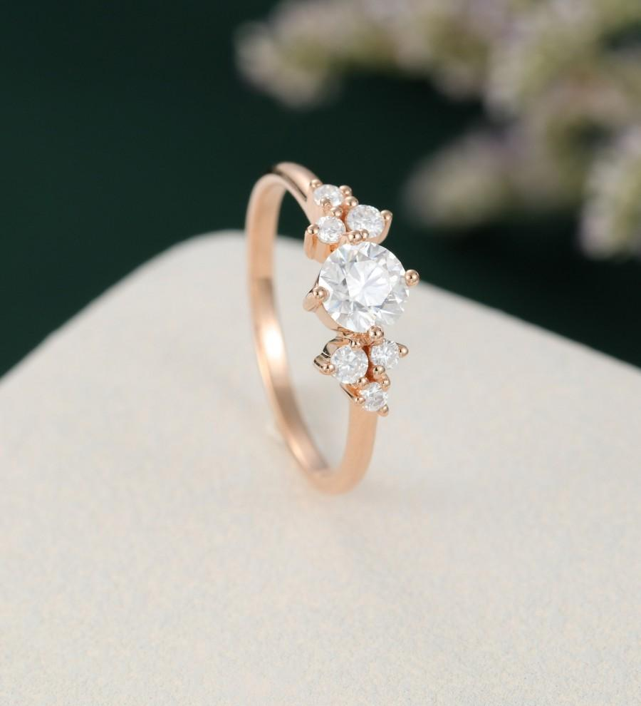 Mariage - Moissanite engagement ring solid 14k rose gold vintage Unique Cluster engagement ring Antique Bridal diamond  wedding women Anniversary ring