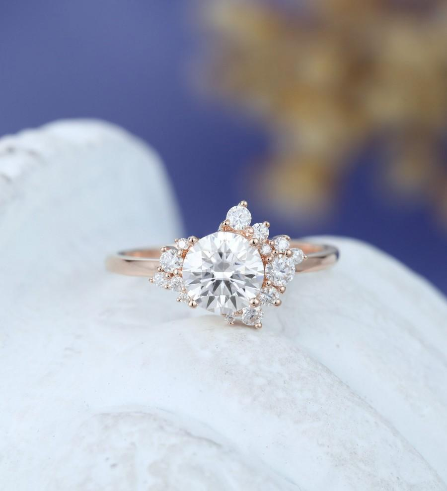 Hochzeit - Unique Moissanite engagement ring vintage Rose gold engagement ring for women Cluster ring Floral Bridal wedding Promise Anniversary Gift