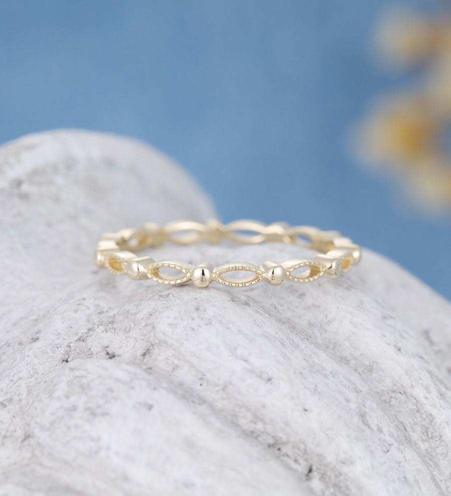 Свадьба - Solid 14k yellow gold wedding band women vintage marquise milgrain Full eternity band stacking matching ring Promise Gift for women 18k gold