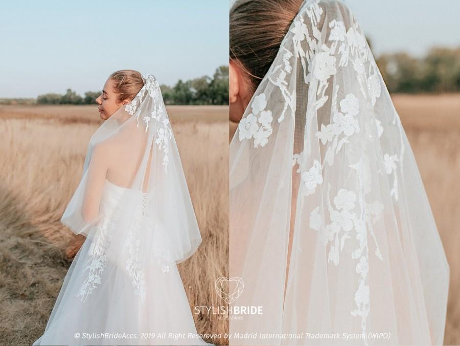 Wedding - Silver Dream Veil, Wedding Glitter Veil Hip Length, Boho Veil  New SBA collection, Veil with Glitter
