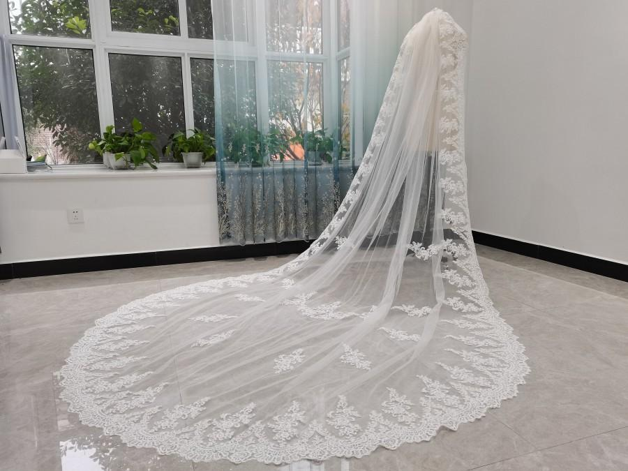 Wedding - Cathedral Lace Wedding Veil One Layers Full Edge Lace Luxury Cathedral Wedding Veils White Ivory Bridal Veil Boho Wedding Veil