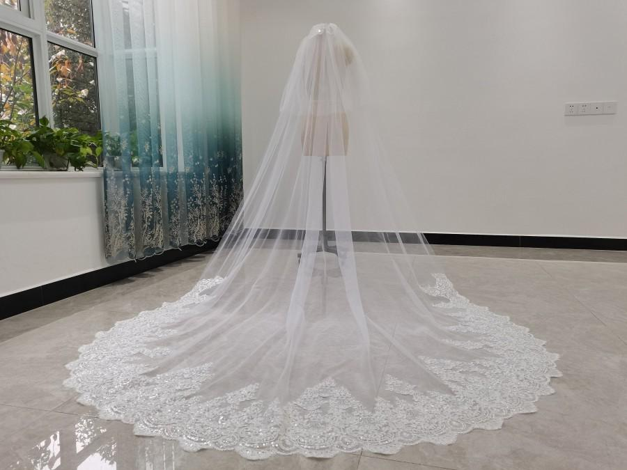 Wedding - Two Tier Wedding Veil Cathedral Wedding Veil Ivory/White Wedding Veil Romantic Lace Sequined Wedding Veil