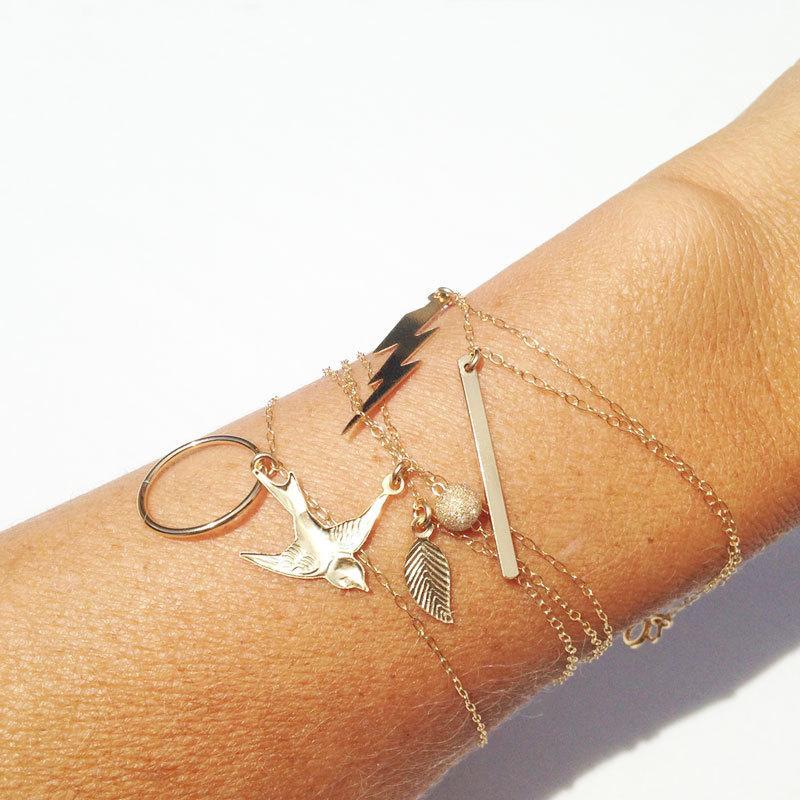 Hochzeit - Charm Bracelets, 14k Gold Filled, Dainty Bracelet, Bird Bracelet, Bar Bracelet, Circle Bracelet, Lightning Bolt Bracelet, Leaf Bracelet