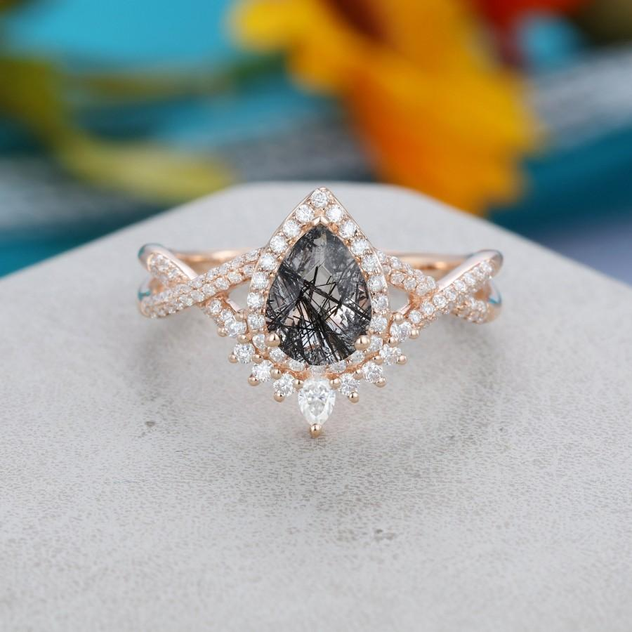 Wedding - Pear shaped Black quartz engagement ring rose gold Unique Vintage engagement ring for women Twisted diamond wedding Bridal Promise gift