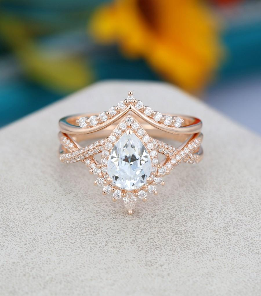 زفاف - Pear shaped Moissanite engagement ring set Art deco Rose gold engagement ring vintage Unique Curved diamond Bridal Anniversary gift for her