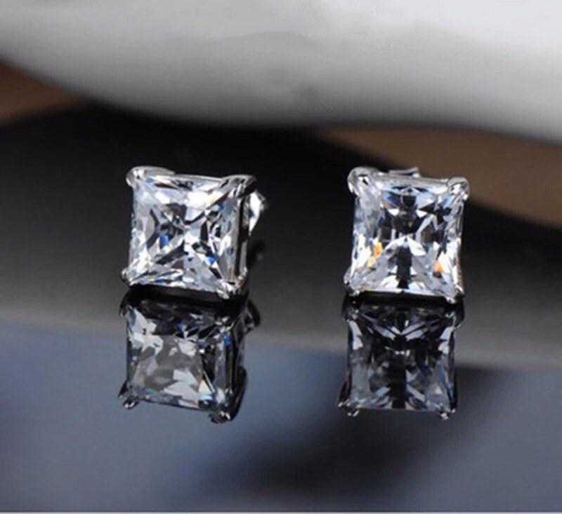 Wedding - 1 Carat Princess Cut Lab Created Diamond Stud Earrings, Lab Diamond Square Earrings, 1 Carat Diamond Earrings, Diamond Stud Earrings, Silver