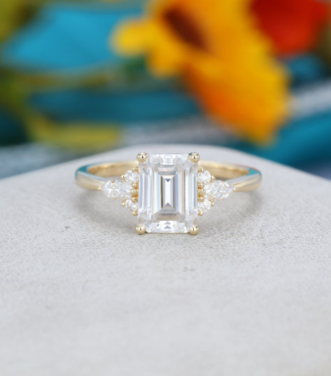 Hochzeit - Emerald cut moissanite engagement ring Yellow gold Unique Cluster engagement ring for women vintage Marquise diamond Bridal Anniversary gift