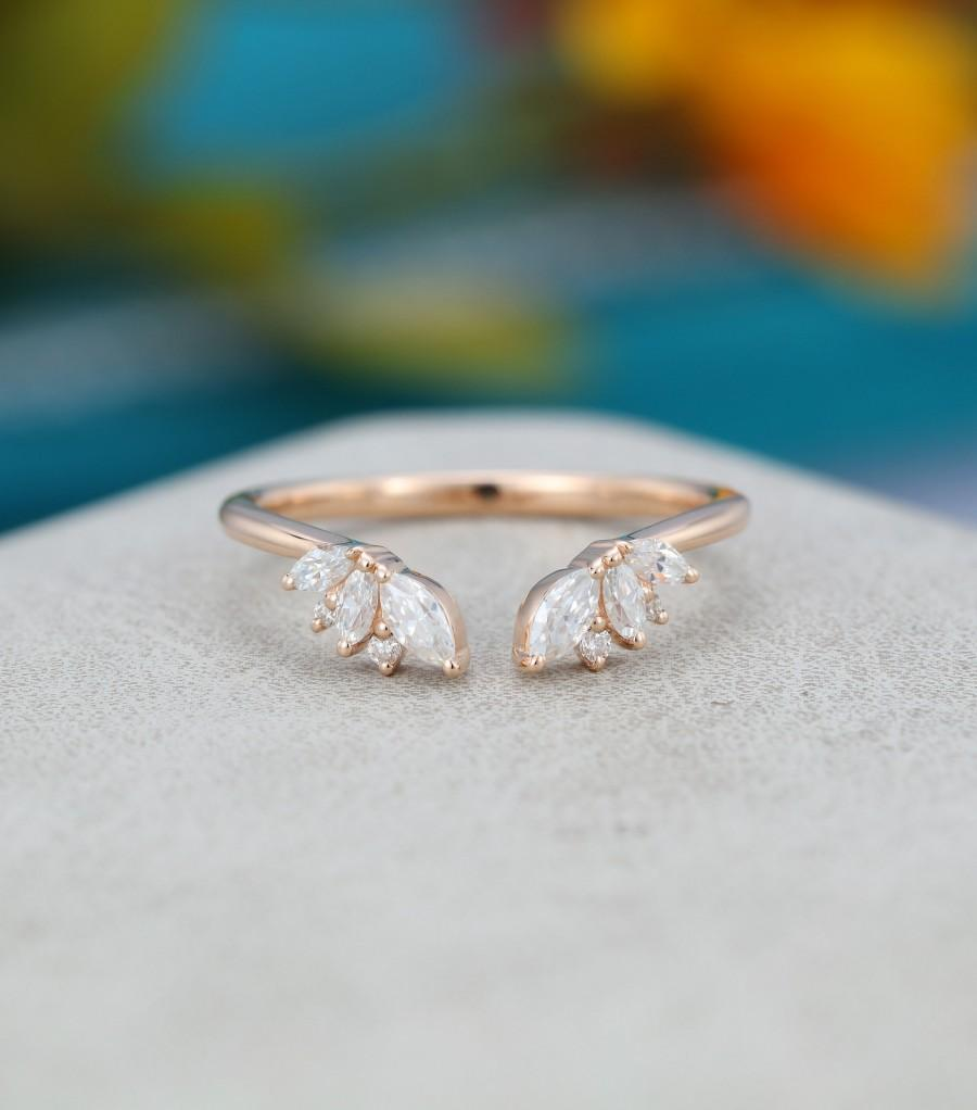 Hochzeit - Rose gold Open ring vintage Unique Marquise cut Moissanite diamond Curved wedding band women Solid Gold Matching Bridal promise gift