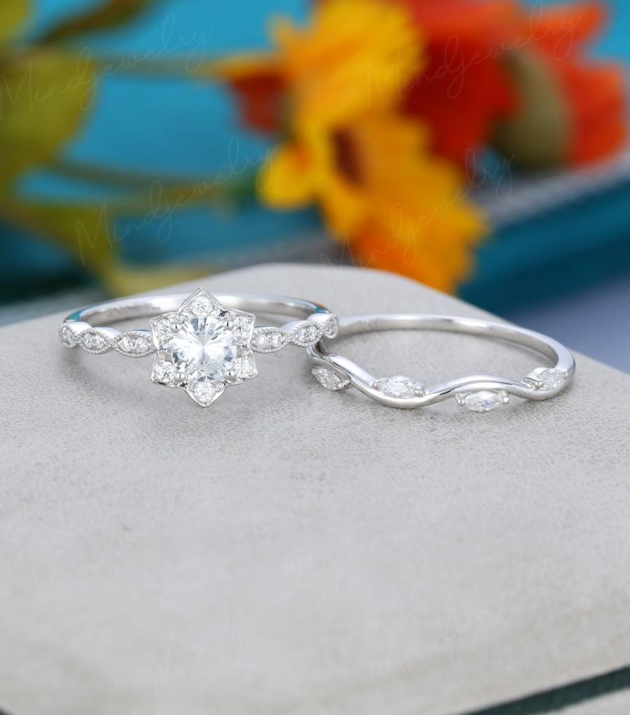 Hochzeit - White sapphire engagement ring set Solid 14K White gold Unique vintage Half eternity Marquise diamond wedding women Bridal set Promise gift