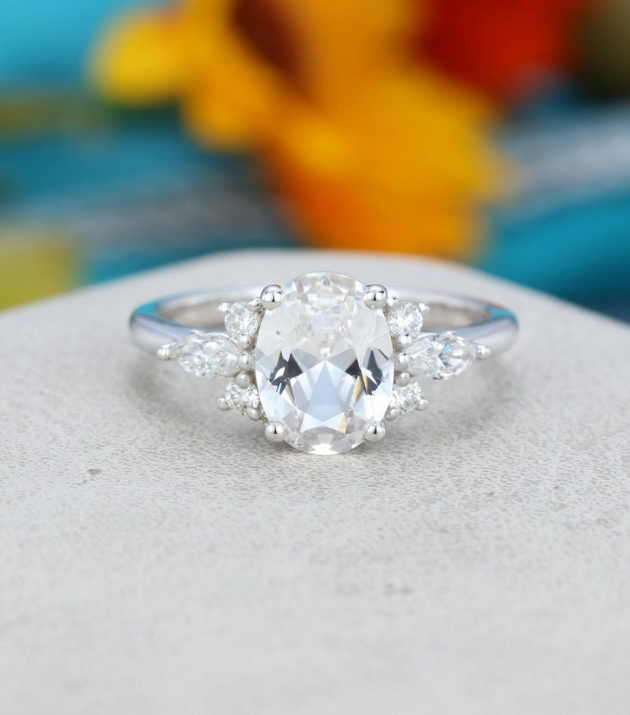 Hochzeit - Oval white sapphire engagement ring White gold Unique Cluster engagement ring vintage Marquise diamond wedding Bridal Anniversary gift