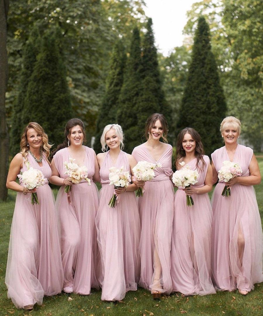 Wedding - Blush Bridesmaid dress, blush infinity dress, bridesmaid dress, convertible dress, pale pink maxi dress, bridesmaids, multiway dress