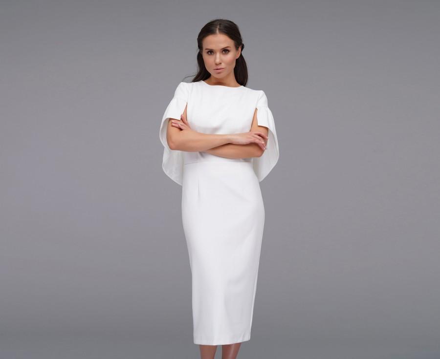 Wedding - White cape pencil dress, Elegant simple short wedding dress, Midi Wedding guest dress, Mother of the bride groom dress, White dress women