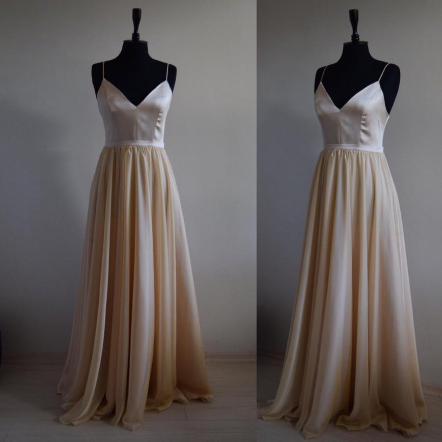 Wedding - Made To Measure Silk/Georgette Chiffon With Top Satin Bridesmaid Maxi Dress In Spaghetti Straps, Silk Chiffon Bridesmaid  Sweetheart Dress