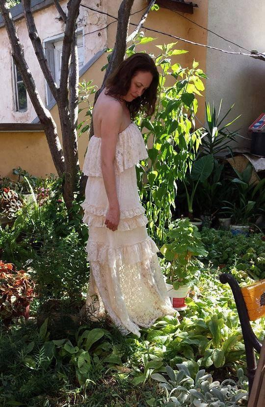 Wedding - SAMPLE SALE bohemian wedding dress, size M lace wedding dress, beach wedding dress, boho fairy woodland wedding dress