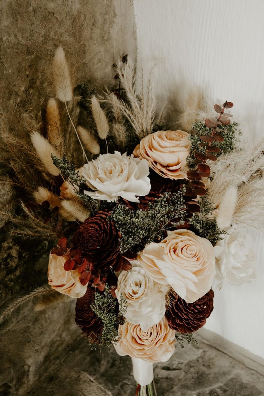 Wedding - Boho Bridal Bouquet, Burgundy, Olive, Copper, Pampas Grass Bouquet Wedding, Keepsake Bridal Bouquet, Burgundy Flower Bouquet