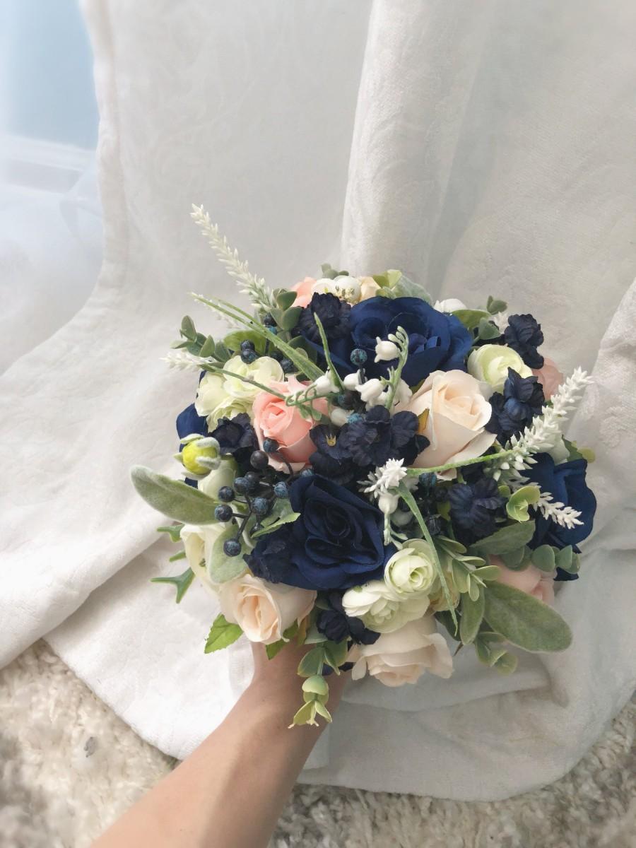 Wedding - Wedding Bouquet Set Boho Navy Blue Decorative Bridal Wedding Bouquets Bridesmaid Handmade Artificial Faux Flowers Boutonniere Bout