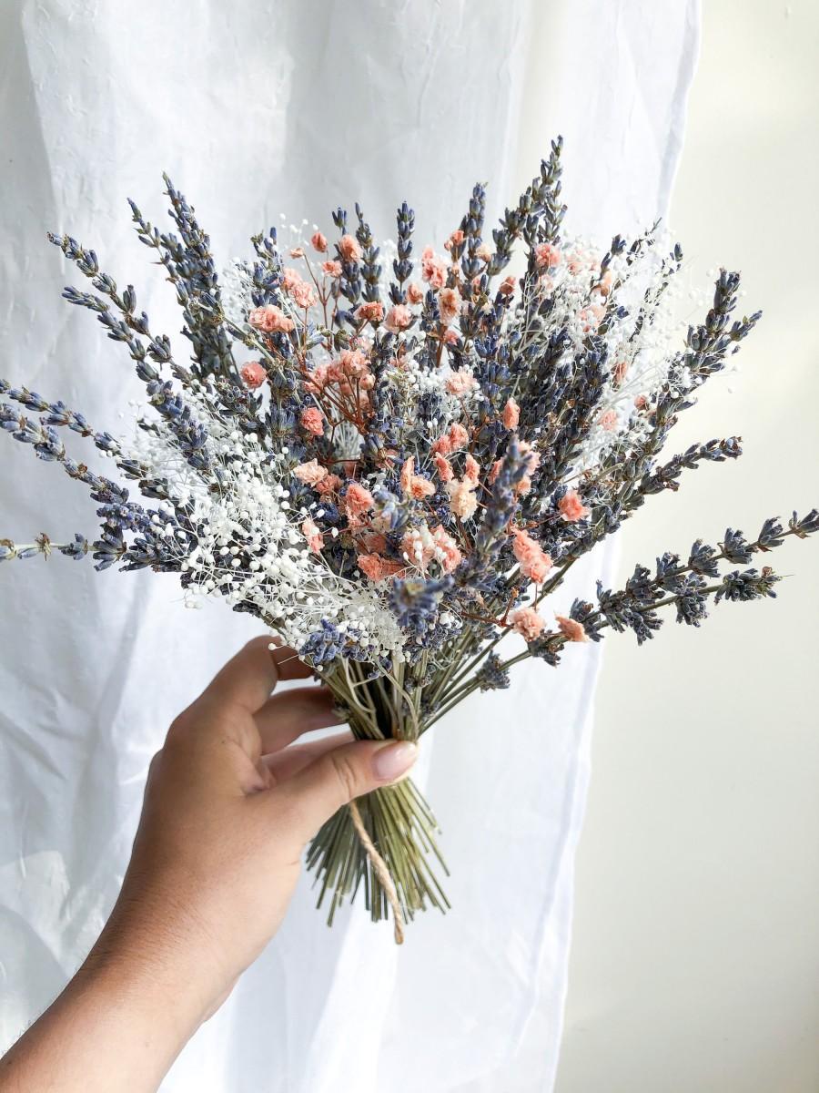 Wedding - Tenderness Peach and Pink Baby's Breath Flowers ,Million Stars ,Dried Lavender Bunch Bouquet, Dried Centerpiece, Bridal Lavender Bouquet