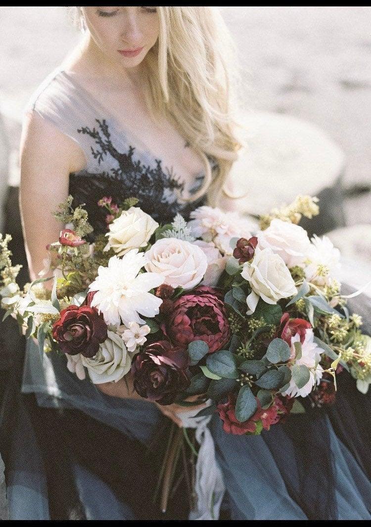 Wedding - Silk Wedding Bouquet,Boho Bouquet, Rose Bouquet, Garden fresh Bouquet, Brides Bouquet, Wedding Bouquet, Bride Maid Bouquet