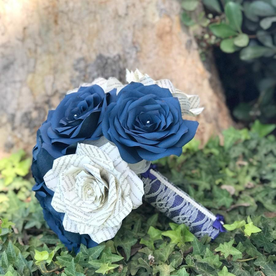 Wedding - Book Page and Navy Blue Filter Paper Rose Bridal Bouquet - Colors are customizable