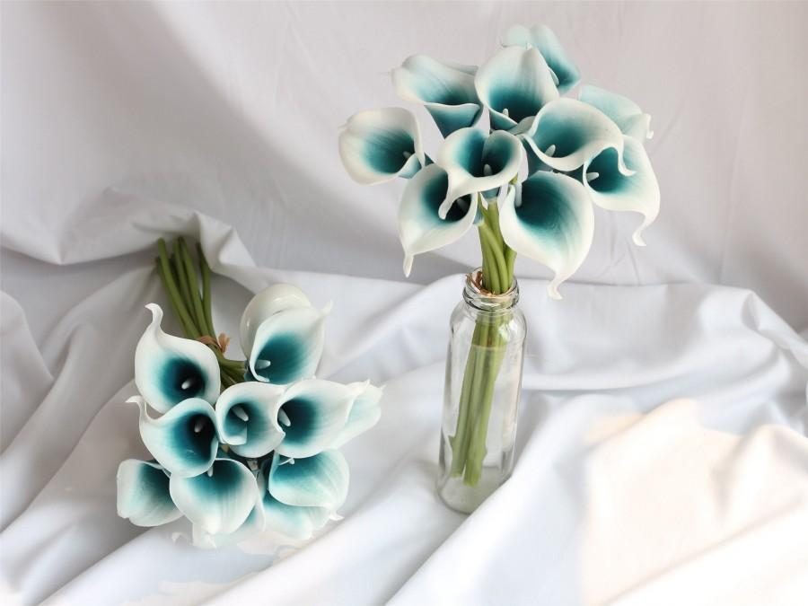Wedding - Oasis Teal Calla Lily Bouquet 10 Real Touch Calla Lilies for DIY Wedding Flowers Bridal Bouquet Wedding Table Centerpieces WLF-06
