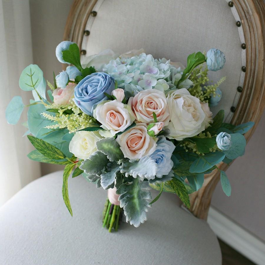 Wedding - Dusty Blue Wedding Bridal Bouquet, Rustic Classic Boho Flower Bouquet,  Design in Rose Peony and Hydrangea