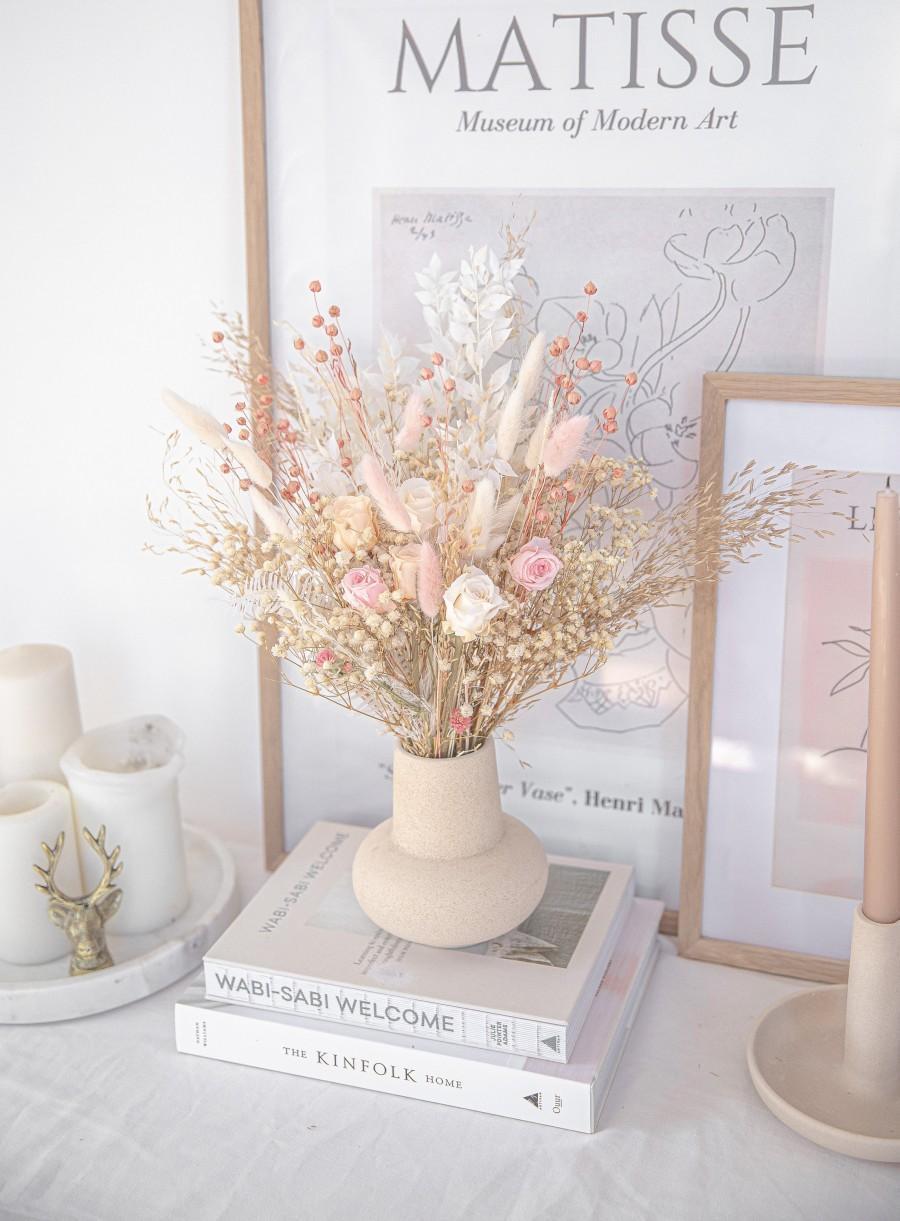 Wedding - Wildflower Bride Bouquet Pastel Blush Pink / Eternal Roses Bouquet / Boho Bridal Neutral Bouquet