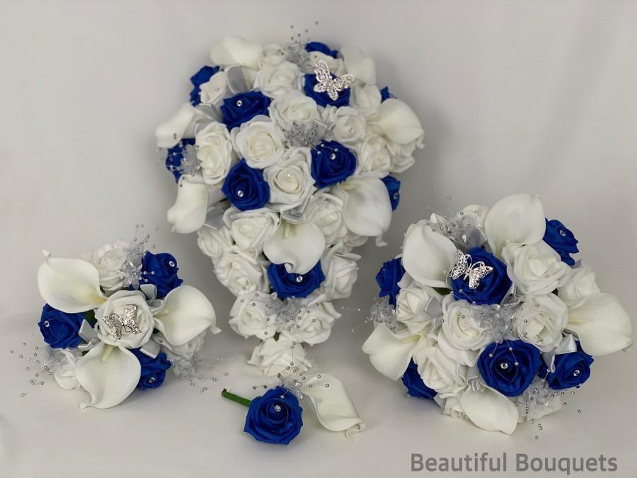 زفاف - Artificial wedding bouquets flowers sets white royal blue