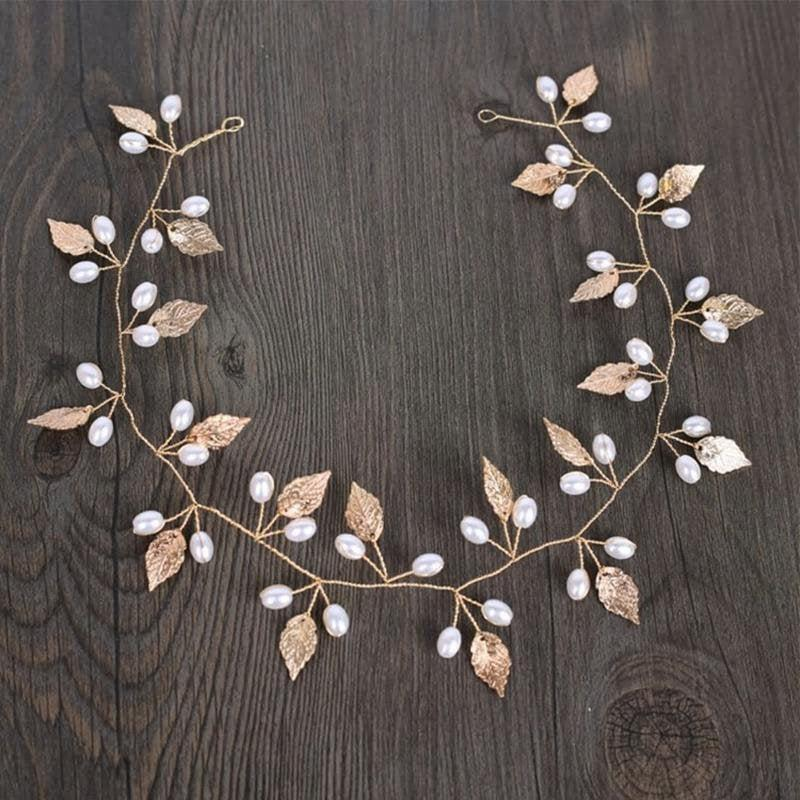 زفاف - Handmade Gold Leaf & Faux Pearl Bridal Hair Vine