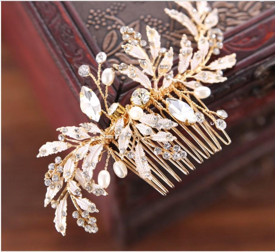 زفاف - GOLD,Bridal Comb, Gold bridal comb, Leaf, Rhinestone, Pearl, Wedding comb, Bridal hair accessories, Wedding, hair accessories
