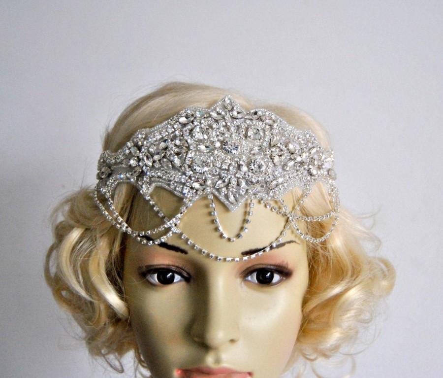 زفاف - Glamour Rhinestone flapper Gatsby Headband, Chain 1920s Wedding Crystal Headband Headpiece, Bridal Headpiece, 1920s Flapper headband