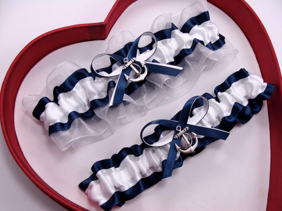 Wedding - New Navy Blue White Wedding Garter Prom GetTheGoodStuff