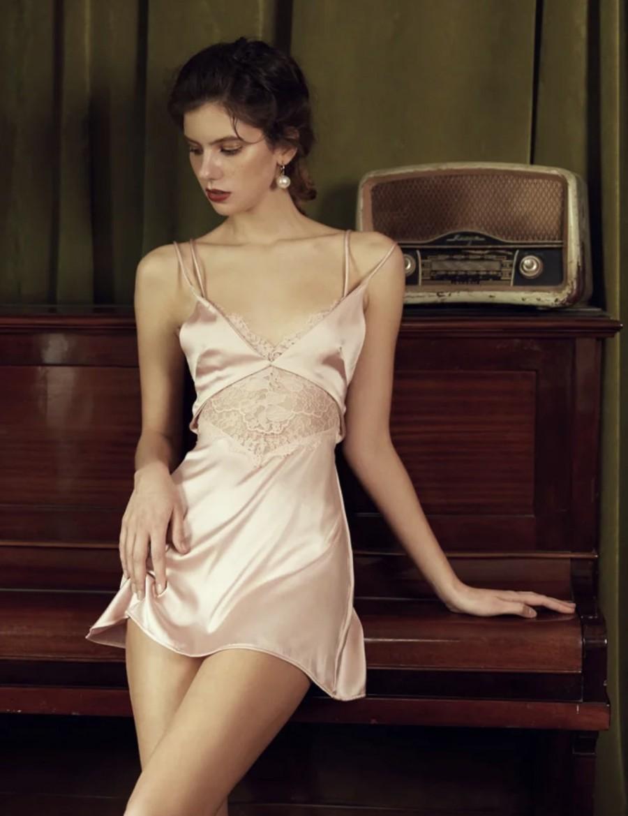 Wedding - Silk Nightdress- Vintage silk Slip-Bridal Nightgown-Women Nightdress-Sexy Lingerie Dress-Silk Chemise -Chemise Nightgown-Erotic Nightdress