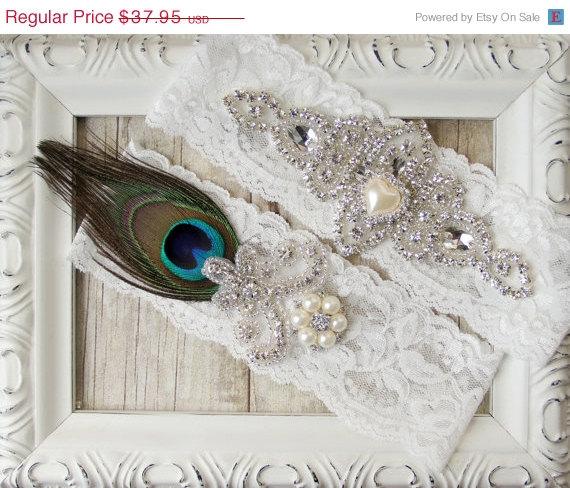 Wedding - Wedding garter set - Peacock Garter Set w/Rhinestones and Pearls, Bridal garter, Garter belt, prom garter, bridal shower gift for her