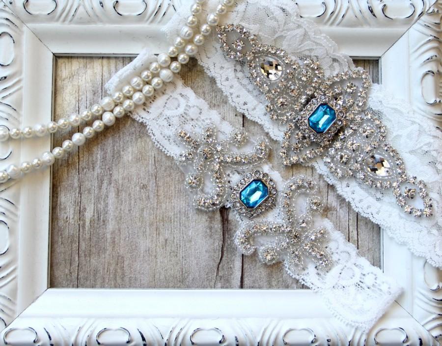زفاف - Garter Set - Wedding Garter w/ toss - Customizable Aqua Blue Garter, Something Blue, Crystal Garters, Bridal Garter, Rhinestone Garter