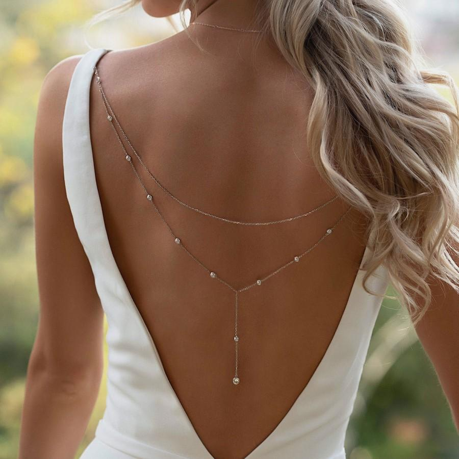 Свадьба - Back Jewelry Clip, Y Lariat Back Necklace Clip on, Bridal Jewelry, Backdrop Necklace, Wedding NBC053