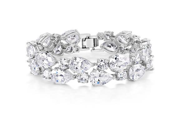 Hochzeit - Bridal Bracelet, Wedding Jewelry, Pageant Jewelry, Bride Bracelet, Wedding Bracelet, Bridesmaid Jewelry, Rhodium Plated, Prom Jewelry