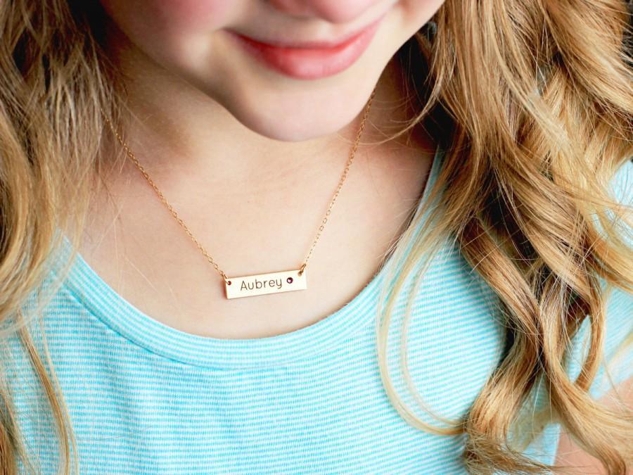 Hochzeit - Children's Engraved Bar Necklace - Personalized Engraved Birthstone Necklace Child Flower Girl Children's Personalized Bar Necklace  TBS